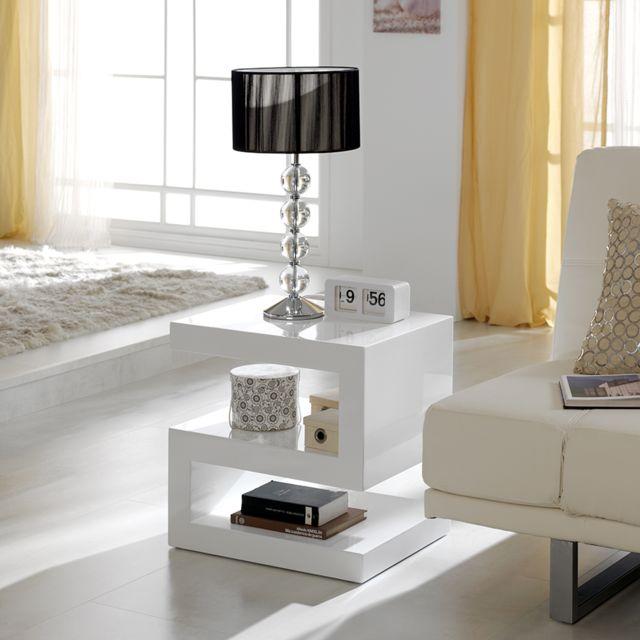 Sofamobili Table basse blanc laqué design Abigail