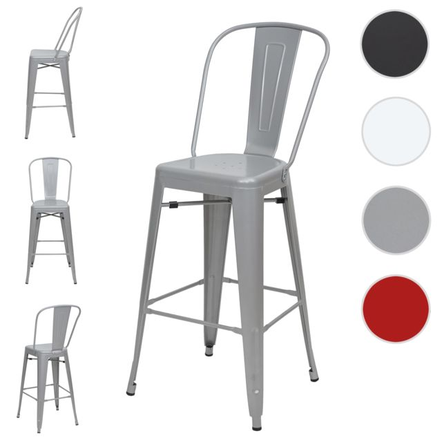 Mendler 4x tabouret de bar Hwc-a73, chaise de comptoir avec dossier, métal, design industriel ~ gris