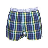 Arthur - Caleçon Club en coton à carreaux bleu marine, bleu clair, jaunes et vert sapin