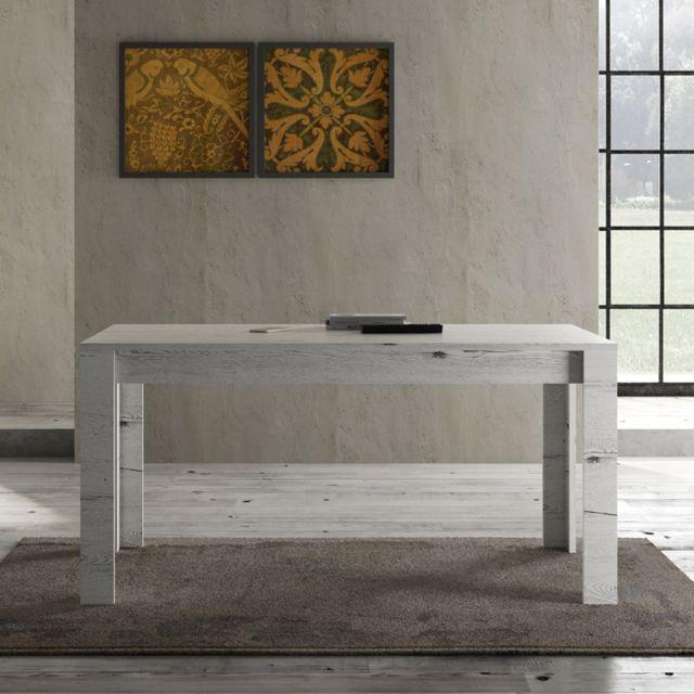Tousmesmeubles Table de repas 160 cm Chêne blanchi - Verone