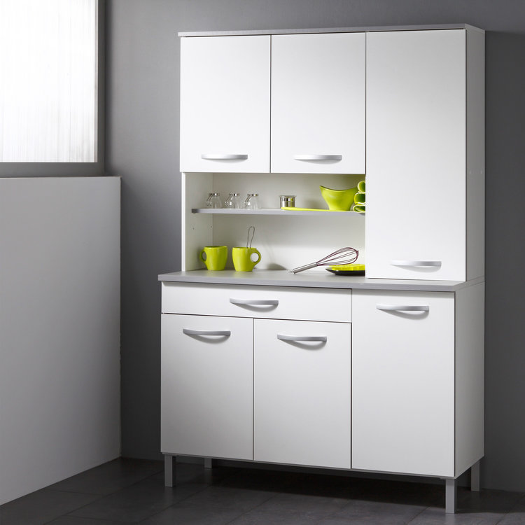 Buffet 6 portes 1 tiroir 2 niches - L120xP44xH181cm Idea - Blanc