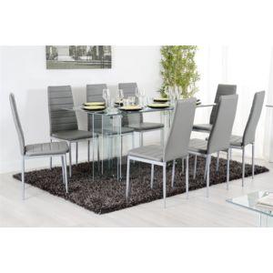 Chloe design wock table repas verre transparent tremp for Verre 51 piscine design tabac