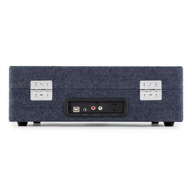 AUNA - Peggy Sue Platine disque vinyle USB - design rétro blue jean