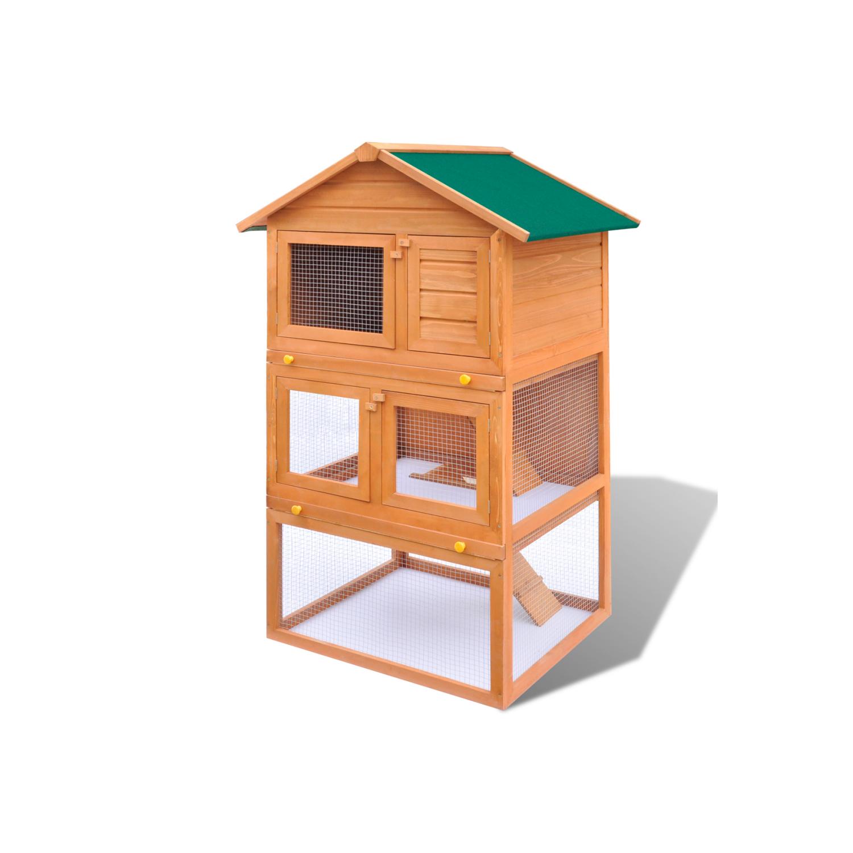 Vidaxl cage clapier ext rieur en bois pour lapins 3 for Cage exterieur pour lapin pas cher