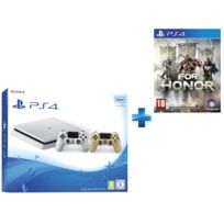 SONY - Playstation 4 Slim 500 Go Blanche + Dualshock 4 Gold + FOR HONOR - PS4