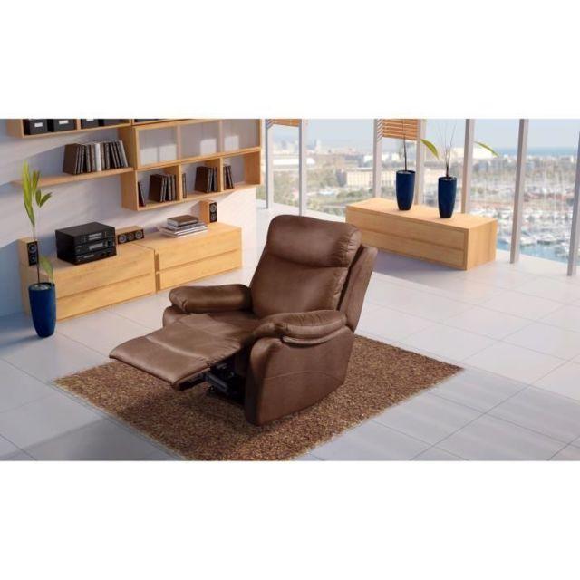 FAUTEUIL NEW ORLEANS Fauteuil de relaxation Manuel - Tissu Chocolat - L 90 x P 97 x H 102 cm