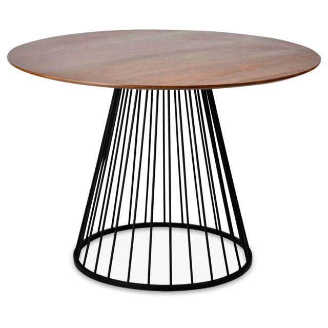 La Chaiserie Table ronde Scandinave Vintage Bois et pied en métal Noir Olga