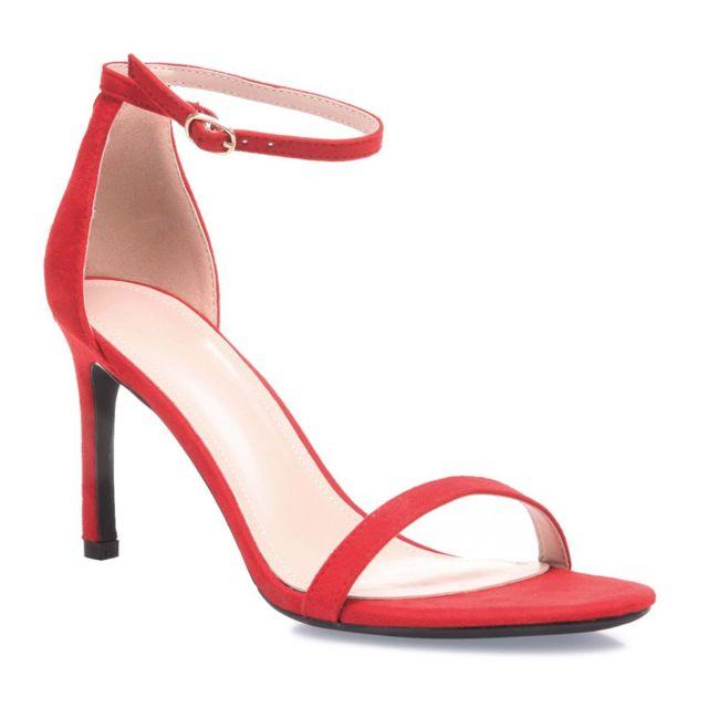 Sandales rouges à bride et talon aiguille