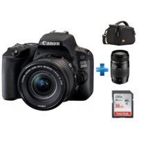 CANON - Appareil photo reflex 200D 18-55 + Carte SDHC Ultra 16 Go + TAMRON AF 70-300mm f/4-5.6 Di LD IF 1:2 + Housse en nylon noir pour caméscope et Hybride - 140 x 112 x 89 mm