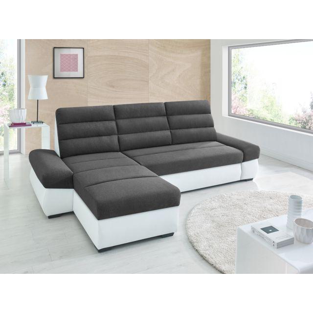 Sofa Story Canapé d'angle convertible Bimbo Gris anthracite / blanc