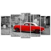 Declina - Tableau sur toile imprimée - Photo noir et blanc voiture rouge