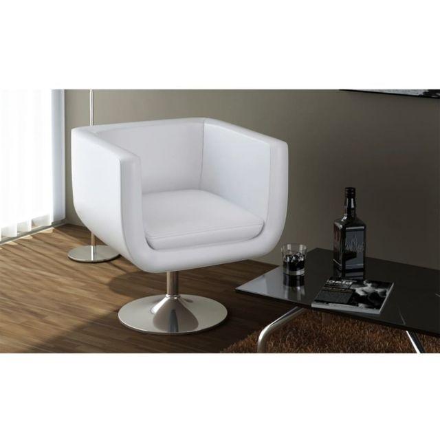 Vidaxl Tabouret de bar Cuir artificiel Blanc | Blanc