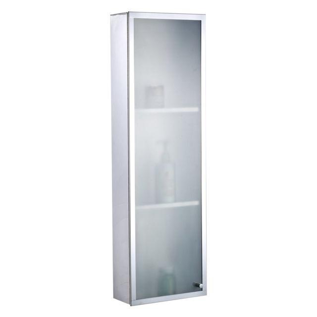 HOMCOM Armoire de toilette salle de bain pharmacie murale 3 niveaux 25L x 11l x 80H cm acier inoxydable verre dépoli 26