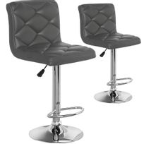 Menzzopremium - Lot de 2 chaises de bar Verano Gris