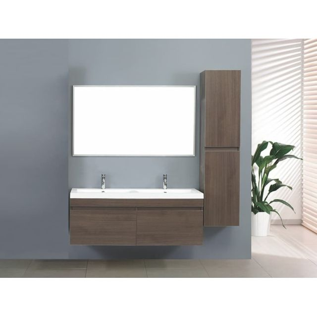 vasque a suspendre 2 Items France - Zen 1 - Grand meuble salle de bain double vasque suspendu  avec 2