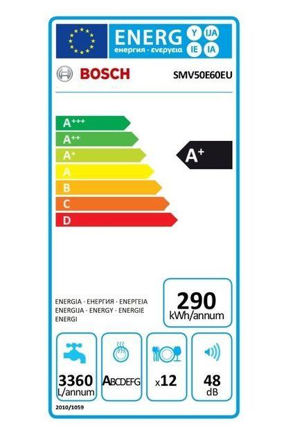 Bosch Lave-vaisselle SMV50E60EU Niveau sonore : 48 dB (A)5 programmes : Intensif 70°C, Normal 65°C, Eco 50°C, Rapide 45°C, PrélavageDépart différé : 3-6-9 hTriple filtre auto-nettoyant