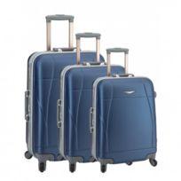 Madison - Madisson Bagage Lot de 3 valises trolley - 4 Roues - Rigide - Fermeture Clips - Bleu