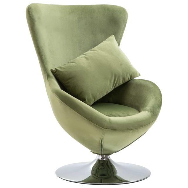 Icaverne Fauteuils club, fauteuils inclinables & chauffeuses lits gamme Fauteuil pivotant en forme d'œuf avec coussin Vert clair Velours