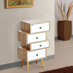 homcom meuble commode chiffonnier style scandinave 4 tiroirs coulissants 47 x 30 x 81 cm. Black Bedroom Furniture Sets. Home Design Ideas