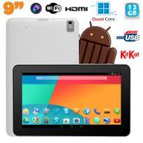 Yonis - Tablette tactile 9 pouces Android 4.4 Bluetooth Quad Core 12Go Blanc