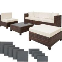 Salon de jardin AMY - 4 Chaises Fauteuils, 1 Table & 1 Tabouret en Résine  Tressée structure Aluminium Marron 2 + Accessoires