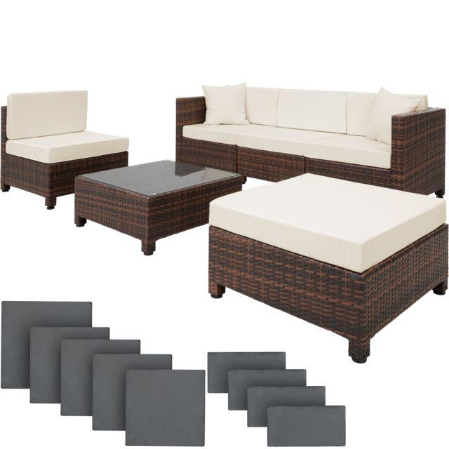 Salon de jardin AMY Modulable 5 Places 4 Fauteuils 1 Tabouret 1 Table en  Résine Tressée Structure Aluminium Marron