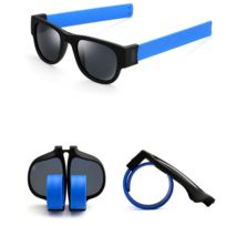 a42fee86a0c02 Wewoo - Lunettes de soleil bleu pour Hommes   Femmes Mode Crimp Pliant  Miroir Pops Polarized