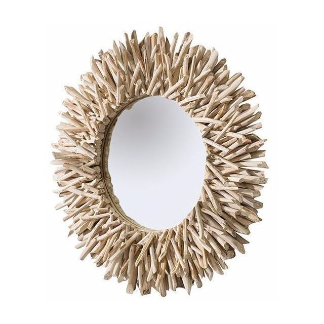Comforium Miroir décoratif 80 cm en bois flotté et verre coloris naturel