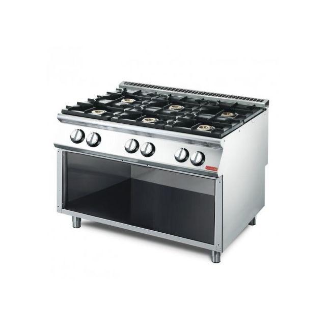 Gastro M Piano de cuisson 6 brûleurs 33,5 kW - soubassement ouvert 700