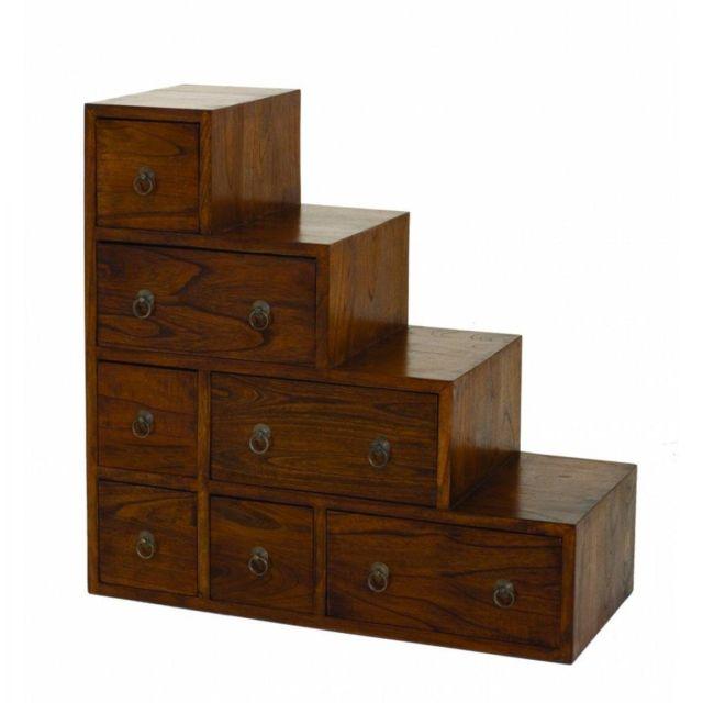 inside 75 meuble escalier 7 tiroirs lauren en mindi style colonial pas cher achat vente. Black Bedroom Furniture Sets. Home Design Ideas
