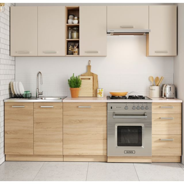 Baltic meubles cuisine lena bois cr me 2m40 8 meubles pas cher achat vente cuisine - Cuisine meuble bois ...
