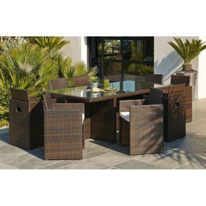 Dcb garden ensemble de jardin 8 places chocolat marron - Salon de jardin resine couleur chocolat ...
