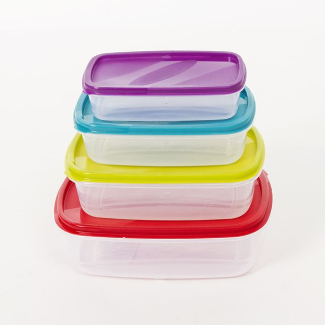 MAISON FUTEE Boites de conservation rectangulaires colorées - Lot de 4