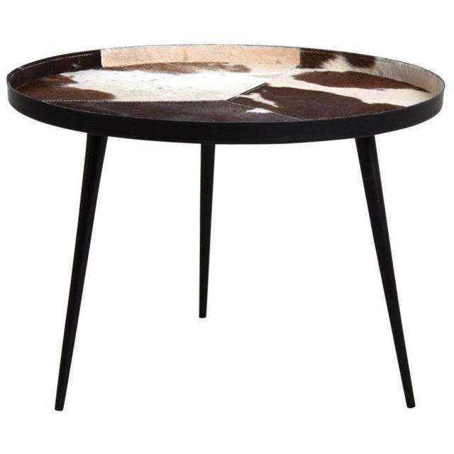 AUBRY GASPARD Table ronde en métal plateau peau de vache