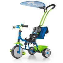 Milly Mally - Tricycle bébé enfant 18-36 m avec auvent amovible et repose-pieds Boby Deluxe   Bleu et Vert