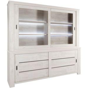 soldes comforium vaisselier contemporain clair 230 cm avec portes coulissantes coloris ch ne. Black Bedroom Furniture Sets. Home Design Ideas