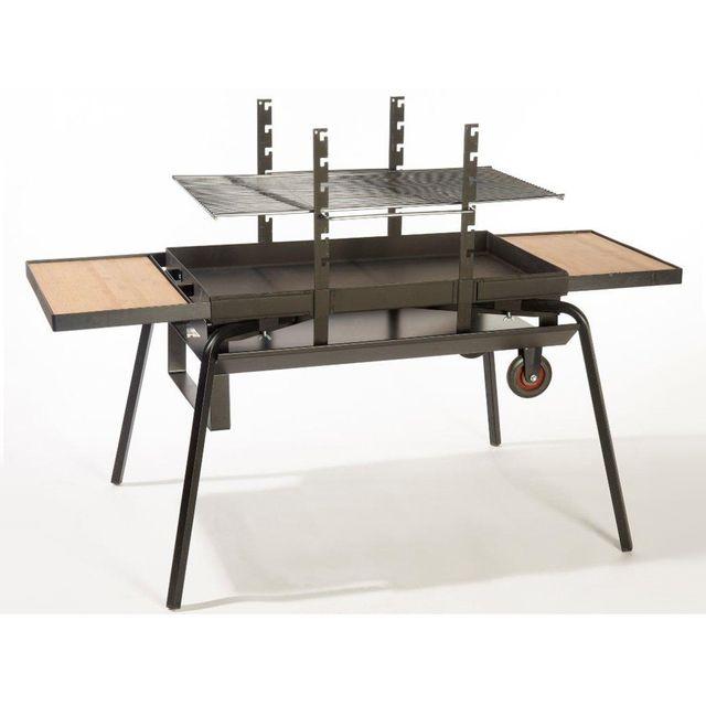 30809a281b2b47 HABITAT ET JARDIN Barbecue bois Feu roulant géant Luxe - grille rectangle  87 x 48 cm