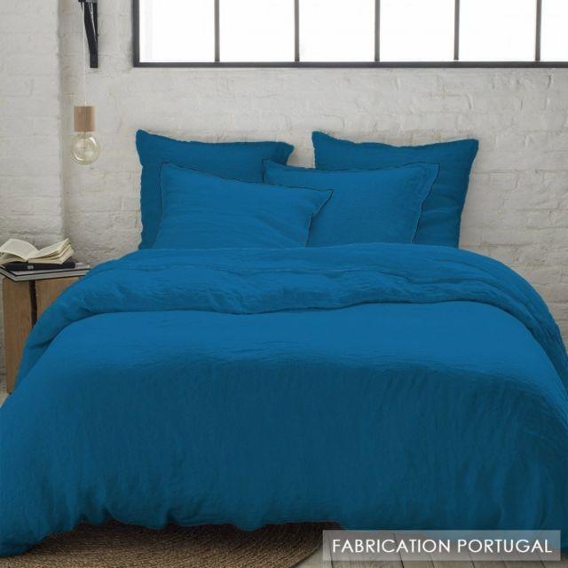 Selene Et Gaia - Taie d\'oreiller lin lavé bourdon noir bleu canard ...