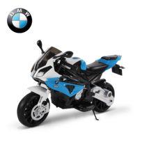 BMW MOTOR SPORT - BMW S1000 RR moto électrique pour enfants 2 moteurs 6 V 2,5-5 Km/h phare klaxon béquille roulettes amovibles bleu 54
