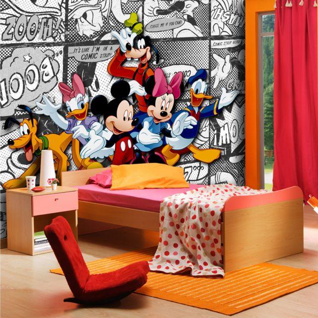 Bebe Gavroche Papier Peint Xxl Mickey Bd Blanc Disney 360x255 Cm