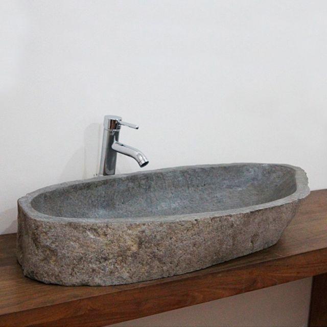 vasque en pierre pas cher Ocean Line - Vasque à poser en pierre de rivière Eden-Roc Xxl