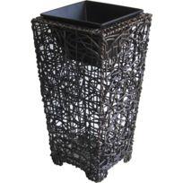 AUBRY GASPARD - Vase cache pot rotin et métal