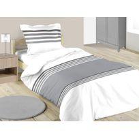 housse couette gris blanc achat housse couette gris blanc pas cher rue du commerce. Black Bedroom Furniture Sets. Home Design Ideas