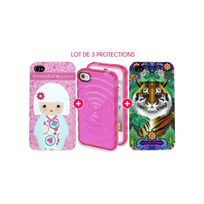Evetane - Pack 3 Protections Fashions pour iPhone 4/4S : Coque Mini Gel + Coque Catalina Estrada + Coque Kimmidoll Junior