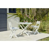 Set Balcon 1 table + 2 chaises - Blanc