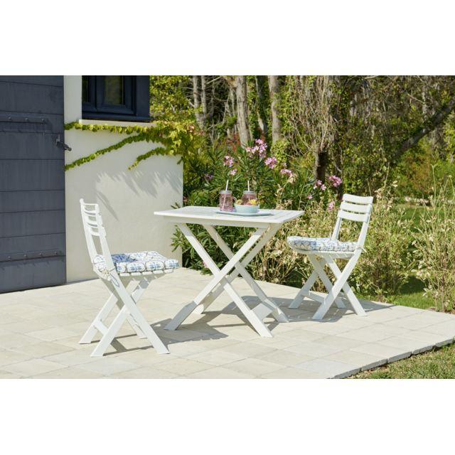 Set Balcon 1 table + 2 chaises - Blanc