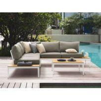 Ermanno G - Salon de jardin bas modulable 4 places en teck brut + ...