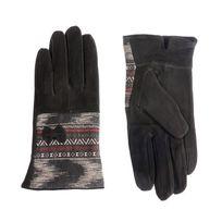 Lamodeuse - Gants fourrés en daim motifs fantaisies noir