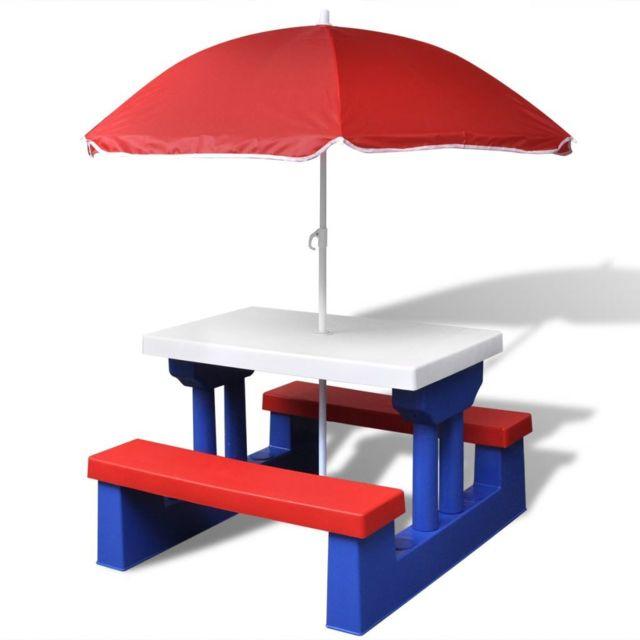 VIDAXL Table de pique-nique pour enfants avec parasol | Multicolore