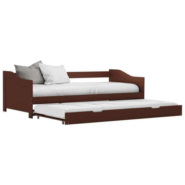 Vidaxl Cadre de lit extensible Marron foncé Bois de pin 90x200 cm